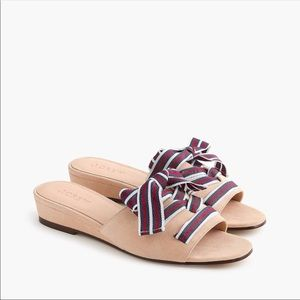 J. Crew Mini Wedge Slides with Lace Up Ribbon